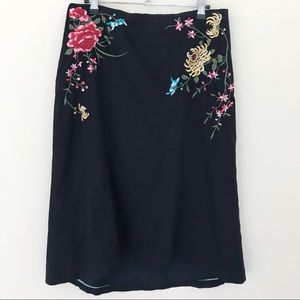 Anthropologie Odille Embroidered High Low Skirt